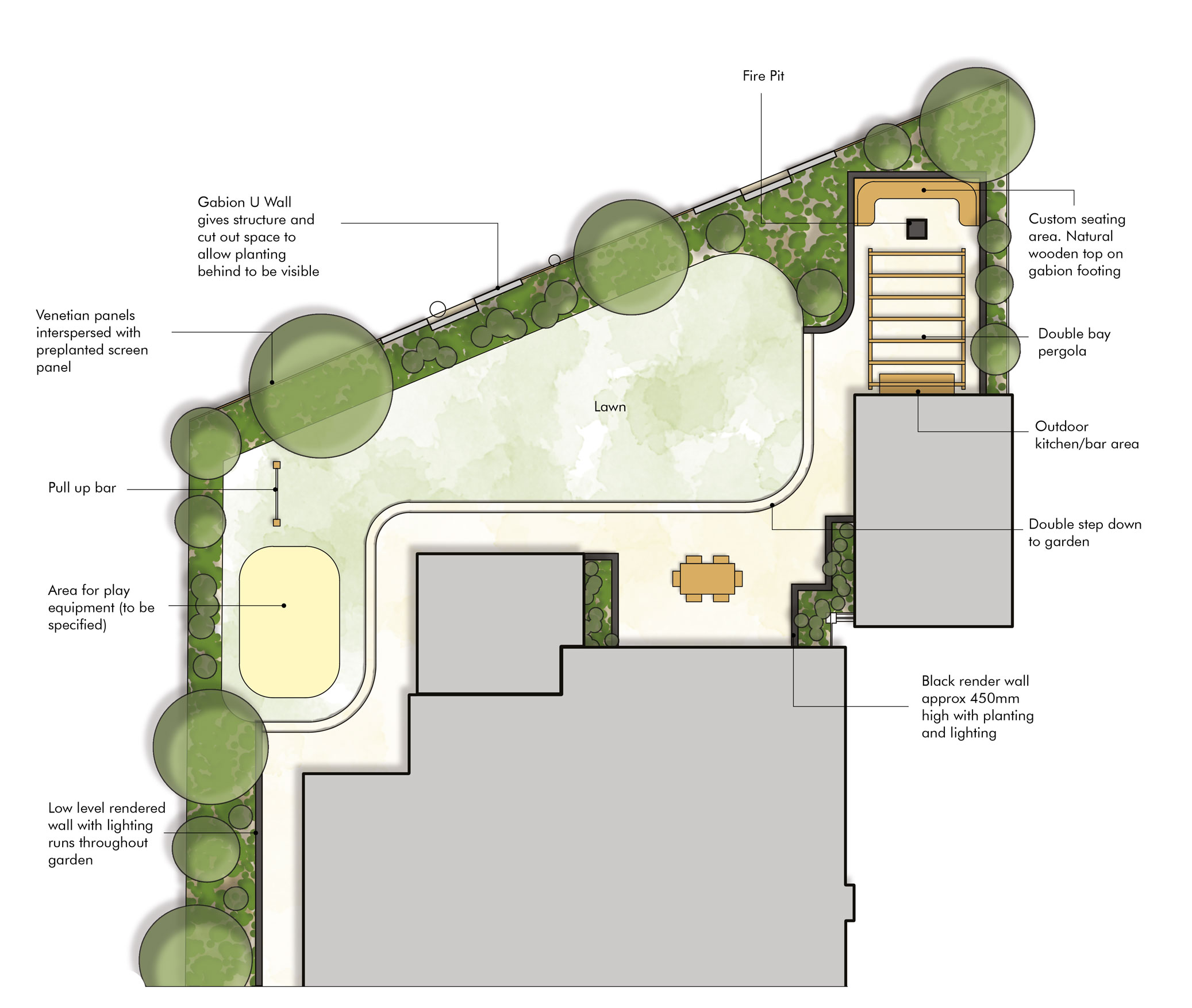 Garden Layout Design Somerset - Planting Design - Outdoor Kitchen Design